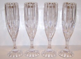 "STUNNING SET OF 4 MIKASA CRYSTAL PARK LANE 8 5/8"" CHAMPAGNE FLUTES - $50.48"