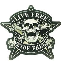 Large Skull Crossbone XXL Live Free Ride Free Biker Patch Embroidered Ir... - $27.67