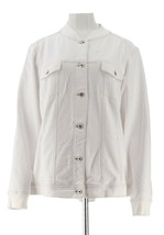 Denim & Co Comfy Knit Button Front Jean Jacket Rib Trim White XXS NEW A3... - $33.64