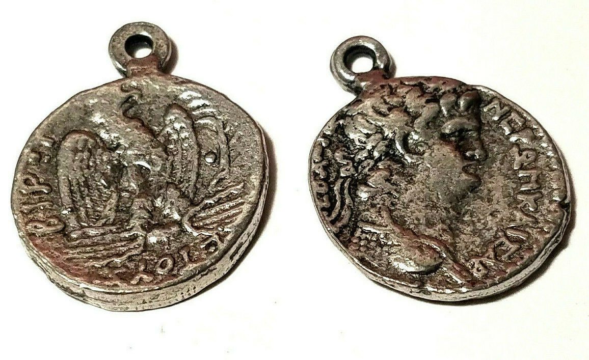 ANCIENT COIN FINE PEWTER PENDANT CHARM