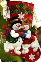 "Bucilla Snowflake Snuggle Snowman Holiday Christmas 18"" Felt Stocking Kit 86257 - $62.95"