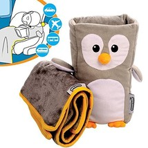 Kids Travel Pillow and Travel Blanket set - 'Tux' Armrest Buddy Transfor... - $30.52