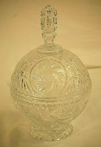 Vintage Cut Crystal Footed Covered Candy Dish Tall Finial Pinwheel Star Pattern - $79.19