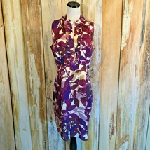 Ellen Tracy Sheath Dress Purple Floral Sleeveless V Neck Ruffle Lined sz... - $18.50
