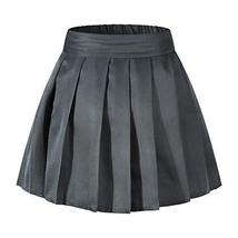 An item in the Sporting Goods category: Girl's Pleated Solid Flared Skater Skirt Mini Skirt A-line Shorts Dark Grey,L