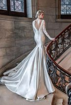 Simple Satin Lace Luxury Princess Mermaid Bridal Gown New Arrival image 3