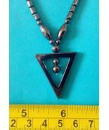 Hematite necklace triangle pendant amulet Philippine made - $11.39