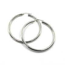 18K WHITE GOLD ROUND CIRCLE EARRINGS DIAMETER 30 MM, WIDTH 3 MM, MADE IN ITALY image 1