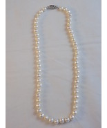 """PEARL NECKLACE GENUINE PEARLS Md Sz W/ STERLING 925 FILIGREE CLASP 17"""" S... - $48.50"""