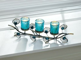 Turquoise Blue Peacock Plumes on Branch 3 Cup Votive Candle Holder Centerpiece - $32.95