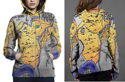 Ardesh map updated hoodie zipper fullprint women