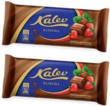 2 Pcs Estonia Milk Chocolate Bar with Strawberries Pieces - $26.11