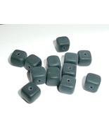 Matte Black Czech Glass Cube Beads (12)  8mm x 9mm Cube Black Beads Chunky - $4.59
