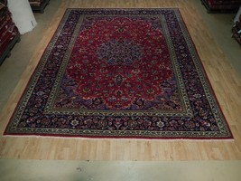 Red-Navy Persian Tabriz Area Rug Lovely Old Design Hand Knotted Rug 13x10 - $1,137.28
