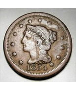 1854 Large Cent Braided Hair FINE AD252 - $25.09