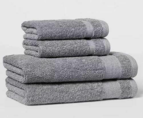 4 pk Hand & Wash Towel Set W/Locker Loops Made By Design - Flat Gray- BRAND NEW