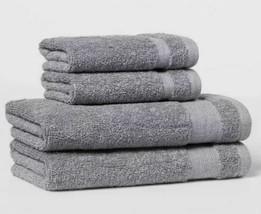4 pk Hand & Wash Towel Set W/Locker Loops Made By Design - Flat Gray- BRAND NEW image 1