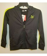 PUMA Kids Sports Zip-Up Hoodie Neon Yellow/Coal Black Size 7 $42 NEW - $23.99