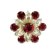 Vintage Silvertone Prong Garnet Red Rhinestone Flower Snowflake Cluster ... - $14.54