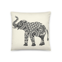 Ornate Indian Elephant Throw Pillow with Insert - £34.25 GBP