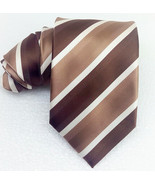 New Tie striped brown & white 100% silk Made in Italy MORGANA business w... - $25.33