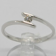 White Gold Ring 750 18K, Solitaire with Diamond Carat 0.08, Rail, Italy image 1