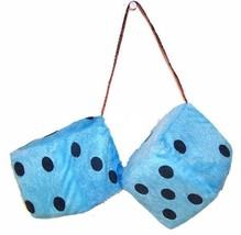 LARGE pair BLUE FUZZY PLUSH 3 INCH DICE rearview die solf hanging NEW ca... - $6.31