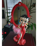 Extremely Rare! Betty Boop in Red Glitter Dress Standing Mirror Figurine... - $495.00