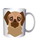 Dog in hipster glasses 11oz Mug v983 - $10.83