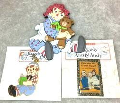 Raggedy Ann Hugging Bear Magnet Pin Reading Charm Pendant Book Andy Coll... - $9.99