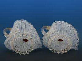Vintage Murano Glass White Zanfirico Candle Holder Pair c.1950 image 3