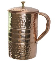 1X Hammered Copper Water Jug Copper Water Pitcher for Ayurveda Health Be... - $33.00