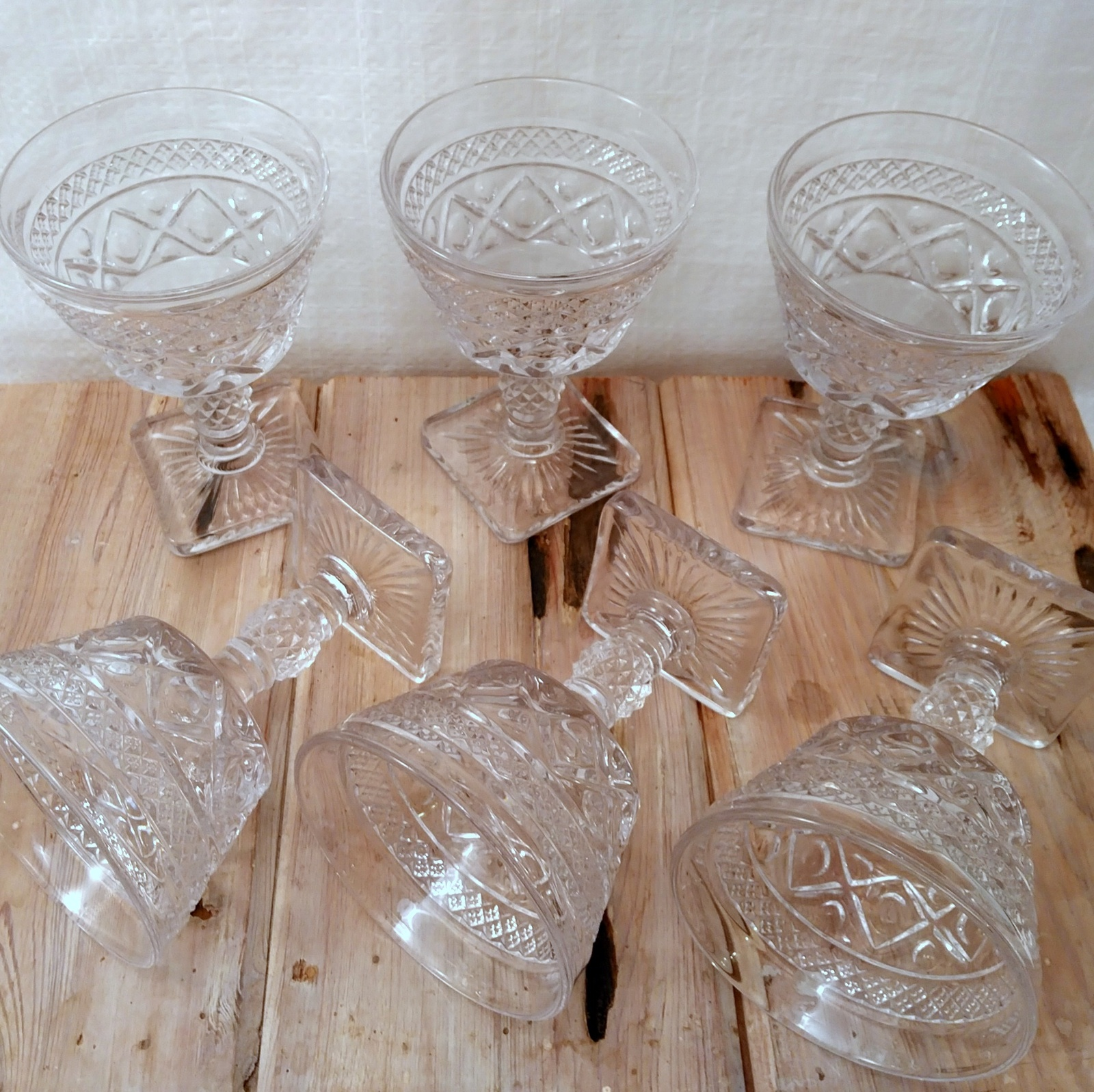 Imperial Glass Cape Cod Clear Set of 6 Champagne Stems Glasses