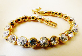 "Swarowski signed Gold plated Clear brilliant crystal link bracelet 7.25"" - $64.94"