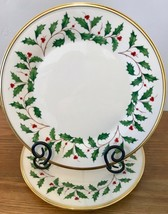 Lenox Holiday Dimension Gold Set of 2 Dinner Plates Holly Berries Christmas USA - $65.44