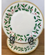 Lenox Holiday Dimension Gold Set of 2 Dinner Plates Holly Berries Christ... - $65.44