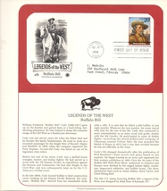 Legends of the West, Buffalo Bill, Postal Commemorative Society,1st Day ... - $2.50