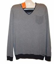 Hugo Boss Gray Blue Men's V-Neck Cotton Knitted Sweater Shirt Sz 2XL - $98.01