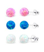 Sterling Silver 925 - Round Opal Solitaire Stud Earrings Pink Blue White 3mm-7mm - $10.00 - $25.00