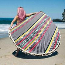 Round Beach Towel Multi-Color Stripe Print Poncho with Tassel Trim 337228 - $37.47 CAD