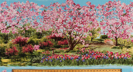 "23.5"" X 44"" Panel Floral Garden Apple Blossom Trees Spring Cotton Fabric... - $9.10"