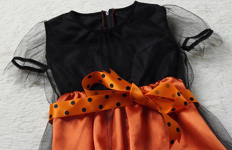HOT Kids Girls Pumpkim Witch Magic dress Halloween Cosplay Costume Kids Gifts
