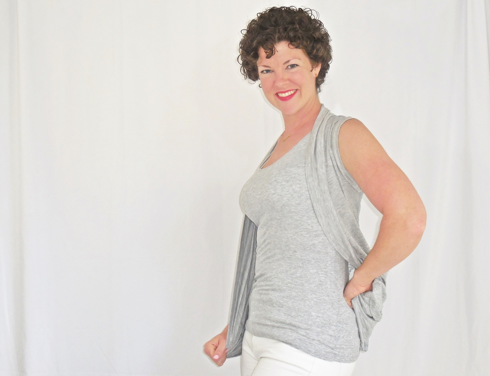 Gray Lace Back Vest, Heather Gray Open Front Vest, Lightweight Rayon Layering