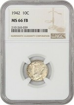 1942 10c NGC MS66 FB - Mercury Dime - $72.75