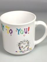 Happy Birthday coffee mug Sandra Boynton fluffy cats cup Vintage birthda... - $22.76