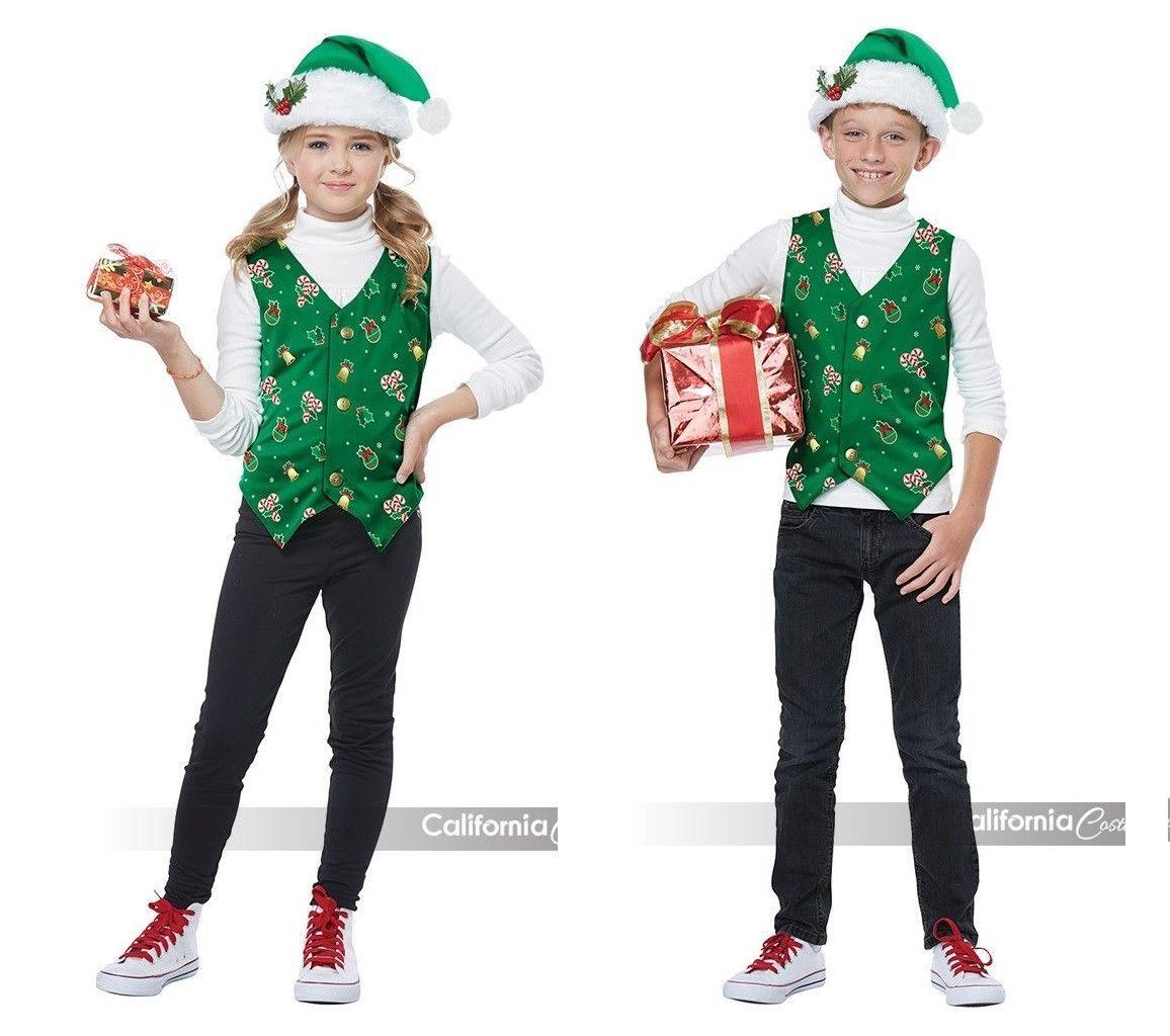 California Disfraces Vacaciones Camiseta Verde Infantil Disfraz de Navidad 00547