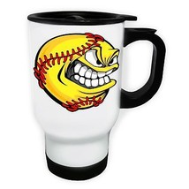 Ball USA Plays Baseball Game White/Steel Travel 14oz Mug z492t - $17.93