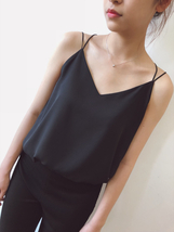 WHITE Summer Chiffon Top Sleeveless V-Neck Chiffon Tank Wedding Bridesmaid Tops  image 5