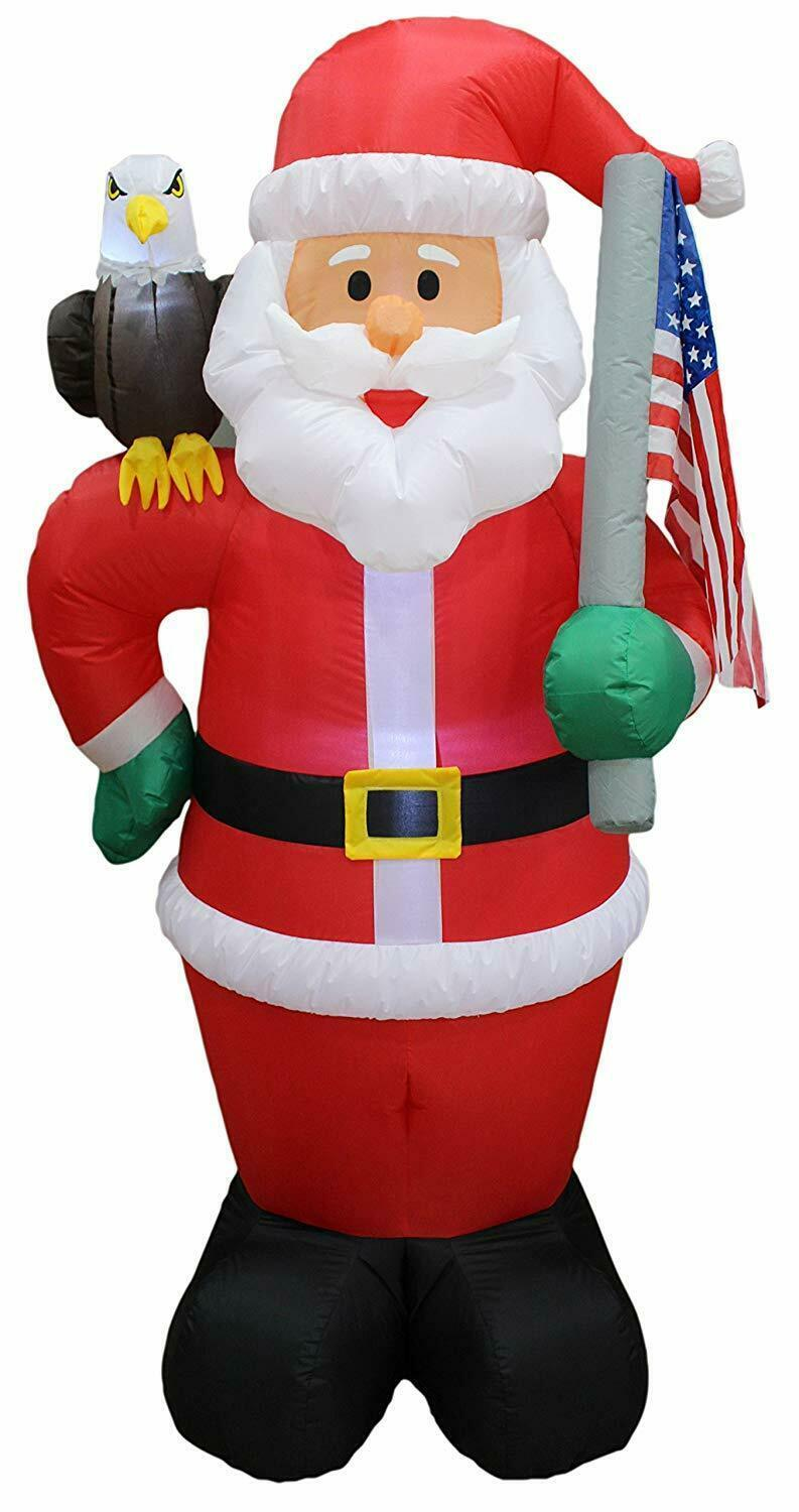 Primary image for NEW Christmas Inflatable Santa Eagle Flag Patriotic Lighted Yard Decor Outdoor