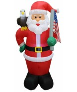 NEW Christmas Inflatable Santa Eagle Flag Patriotic Lighted Yard Decor O... - $79.99